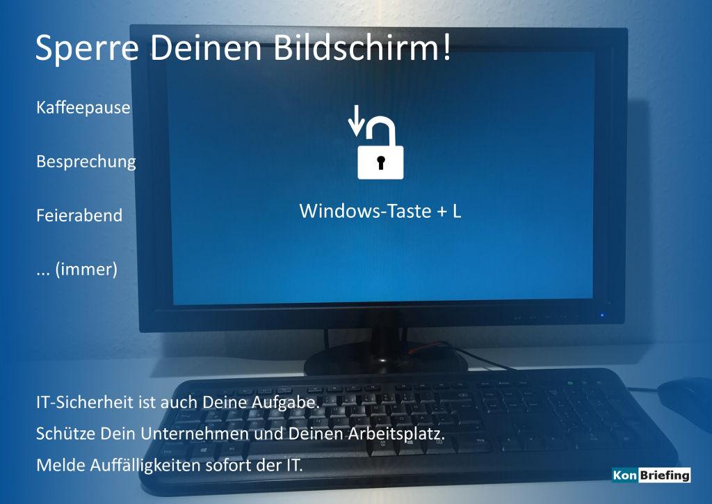 Poster IT Security: Sperre Deinen Bildschirm - blau