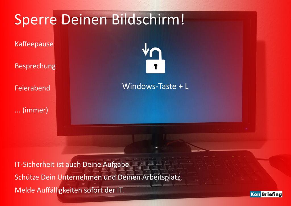 Poster IT Security: Sperre Deinen Bildschirm - rot