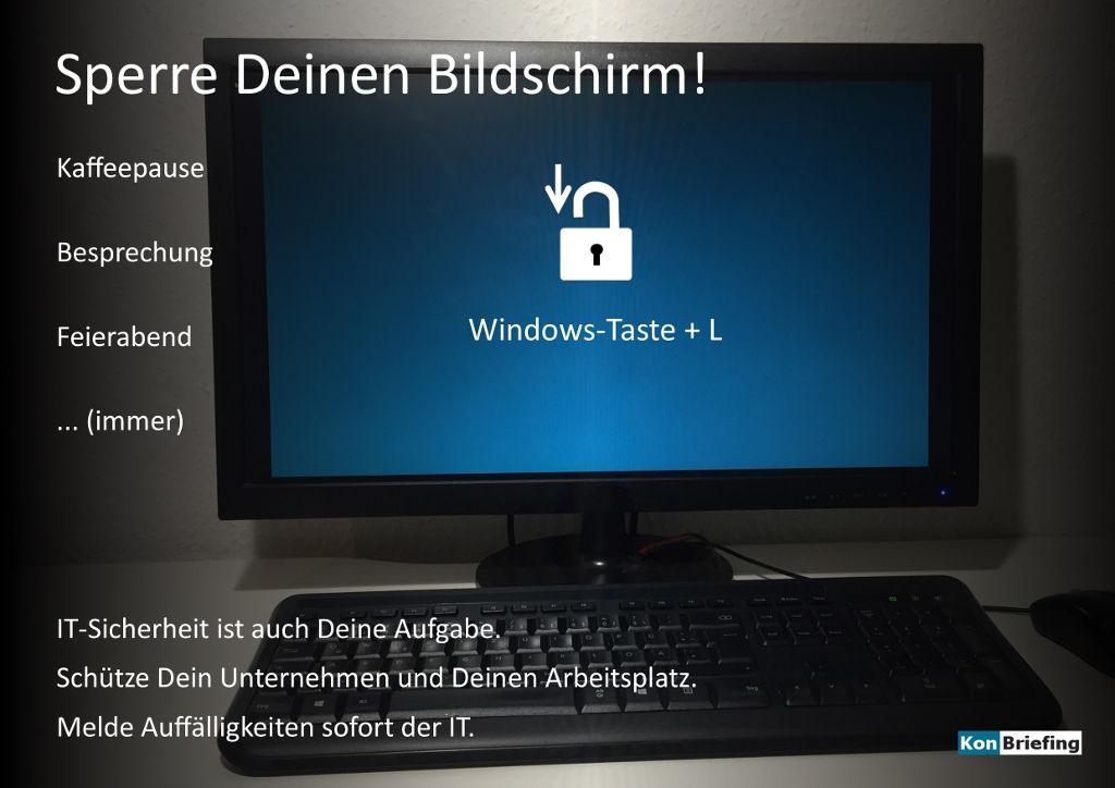 Poster IT Security: Sperre Deinen Bildschirm - schwarz