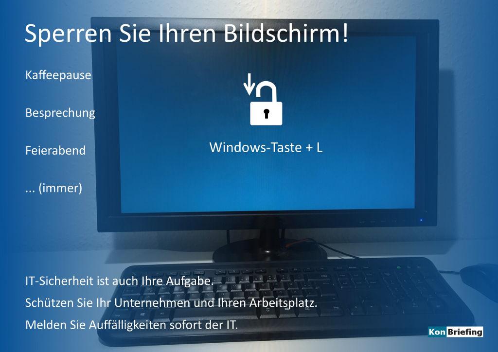 Poster IT-Sicherheit: Sperren Sie Ihren Bildschirm - blau