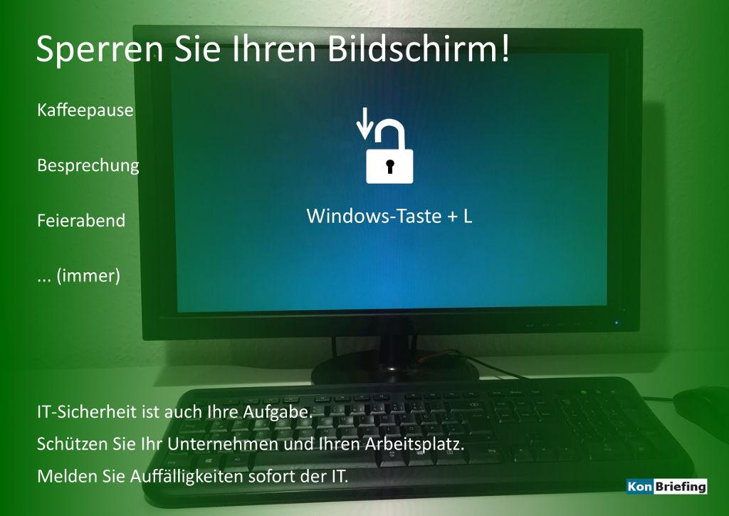 Poster IT-Sicherheit: Sperren Sie Ihren Bildschirm - grün