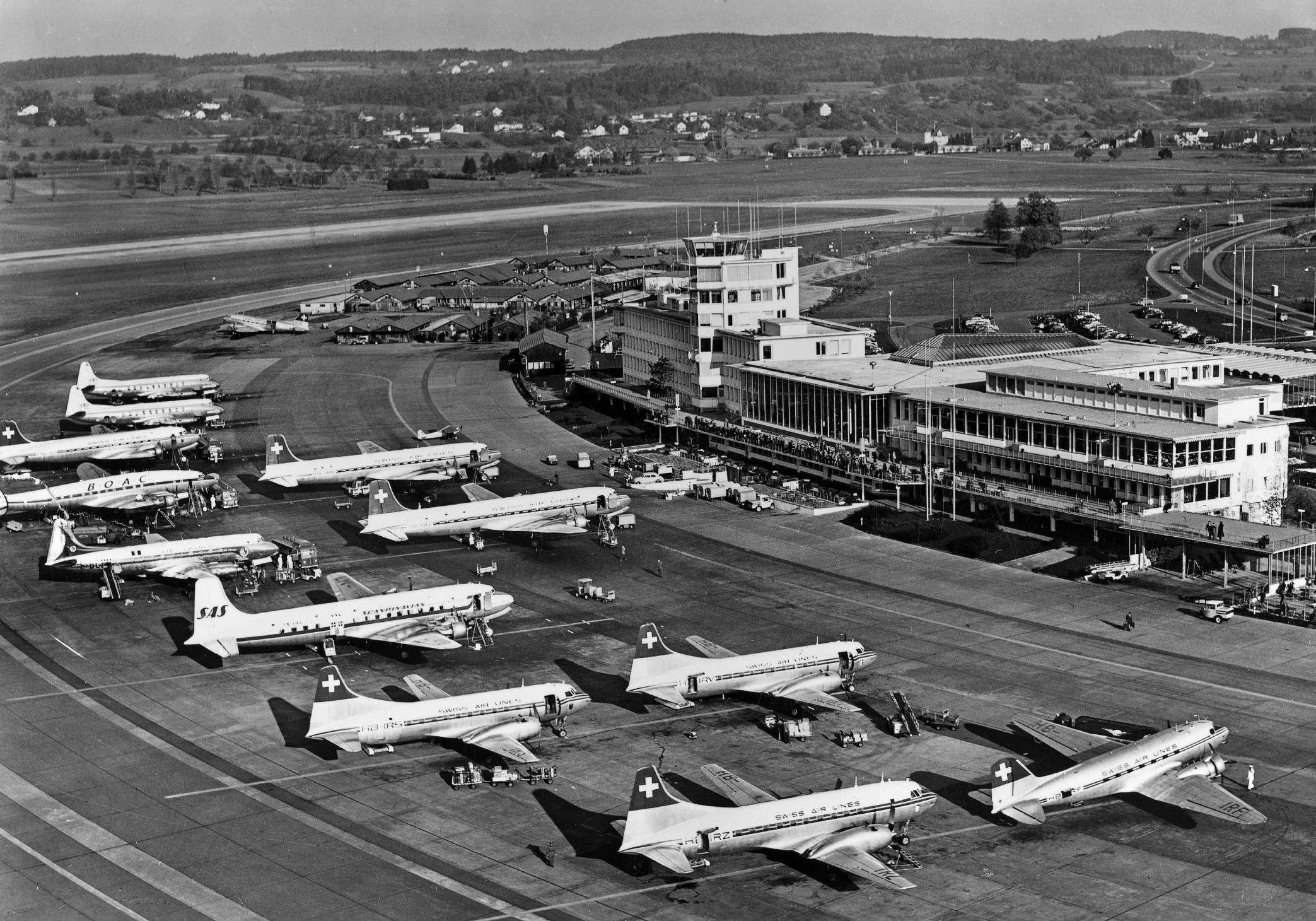 Aerial view Zurich Kloten Aiport, Swissair, BOAC, SAS