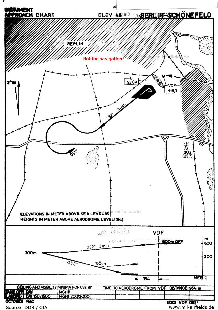 VDF (VHF Direction Finder) approach chart runway 05 Berlin Schönefeld Airport, Germany 1960