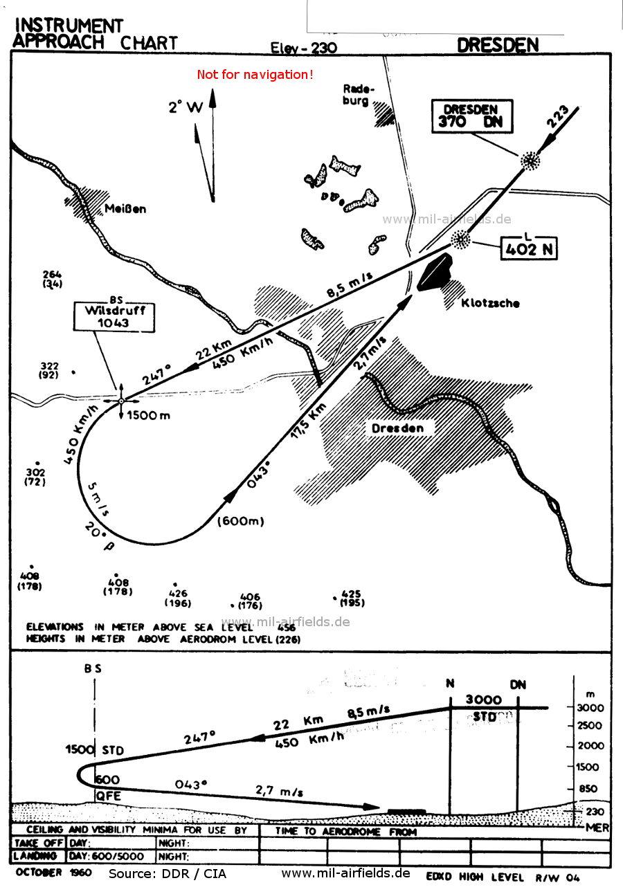 NDB approach chart runway 04 Dresden Klotzsche Airport, Germany 1960