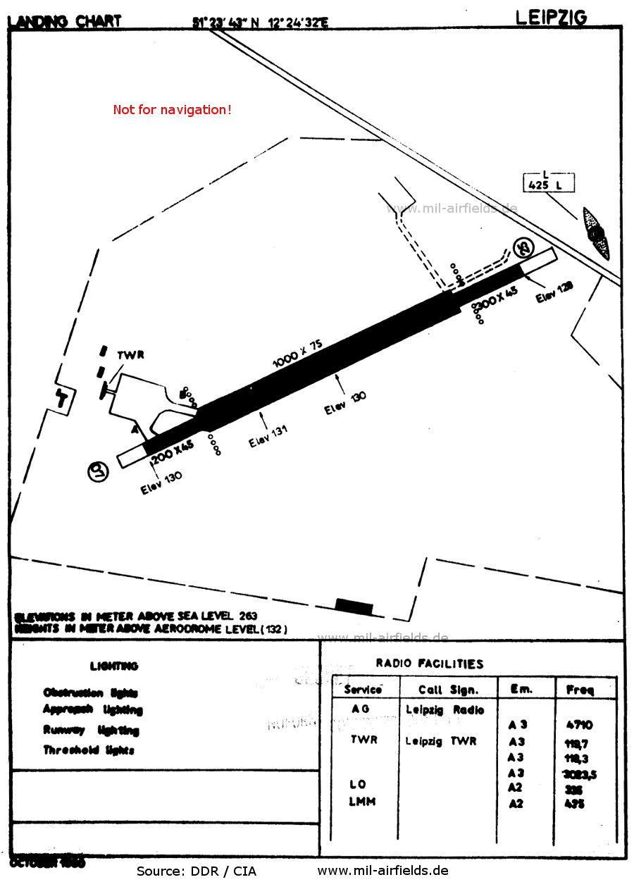 Karte Flughafen Leipzig Mockau, DDR 1960
