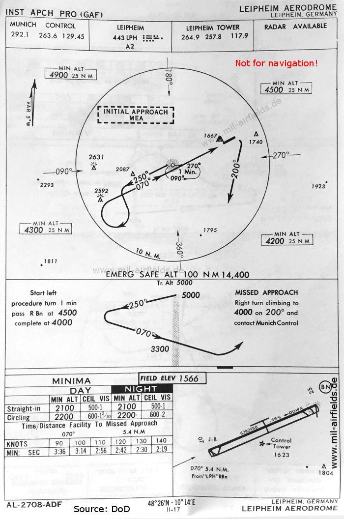 Map of Leipheim Airfield, Germany: NDB approach runway 07, May 1966