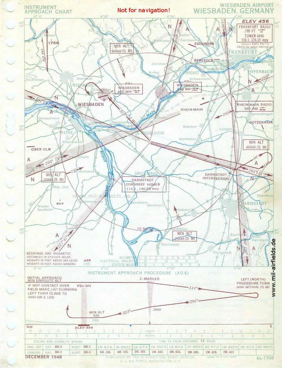 Karte Range-Anflug Flugplatz Wiesbaden Erbenheim, 1948