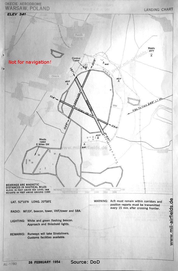 Map of Port Lotniczy Warszawa-Okęcie, February 1954