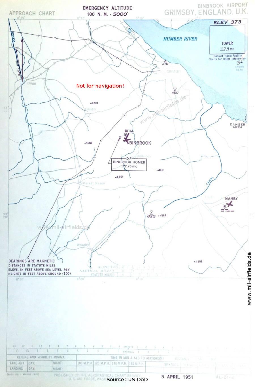 Approach chart RAF Binbrook, United Kingdom 1951