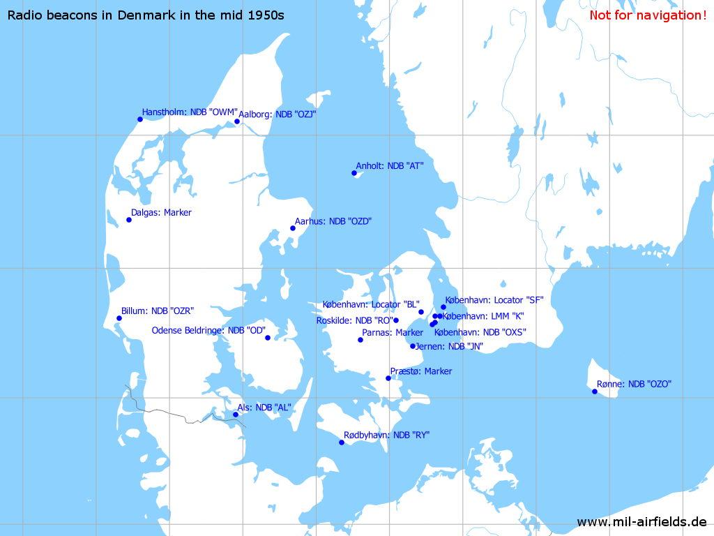 Radio beacons (NDB, Range) in Denmark in the 1950s