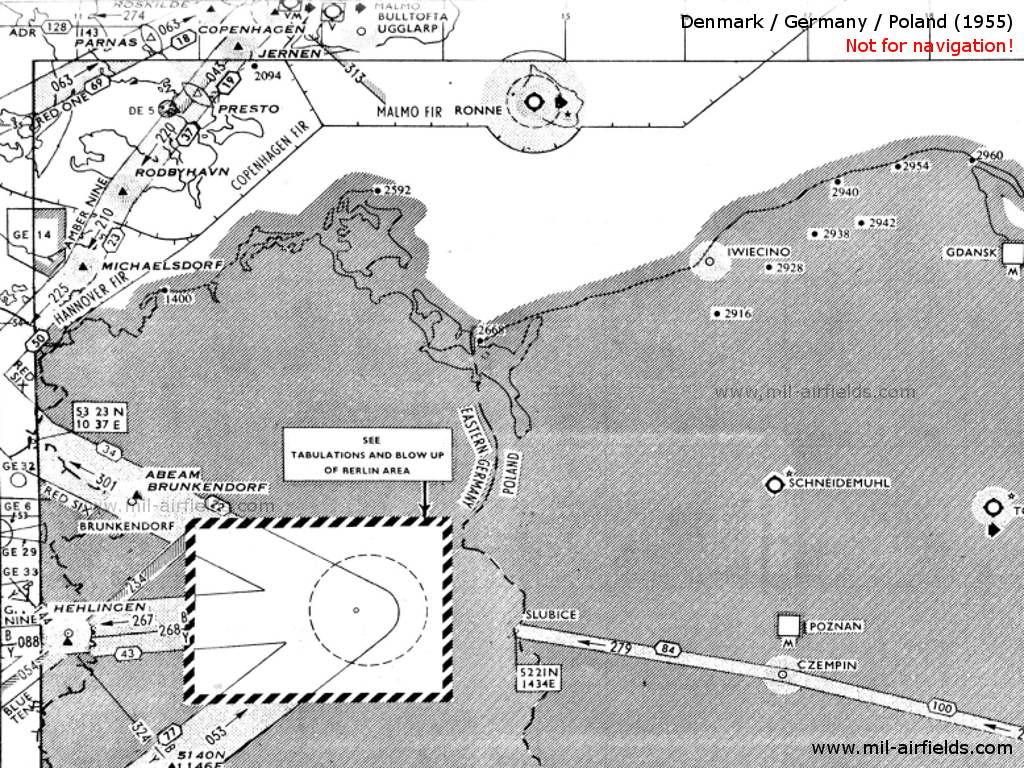 Radio beacons and airways Funen, Zealand, Lolland, Falster, Bornholm, 1955